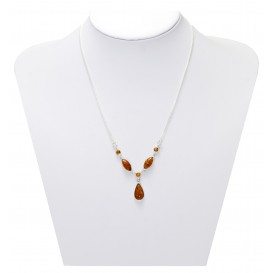 GENUINE BALTIC AMBER & STERLING SILVER UNIQUE HANDMADE NECKLACE