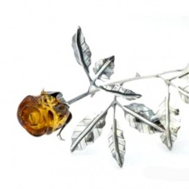 DECORATIVE HAND CARVED BALTIC AMBER AND STERLING SILVER ROSE