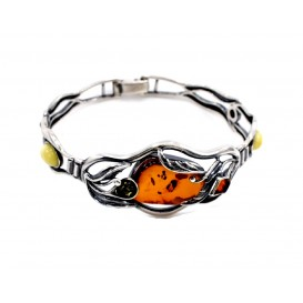 GENUINE MULTICOLOUR BALTIC AMBER & STERLING SILVER