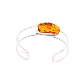 GENUINE BALTIC AMBER & STERLING SILVER BANGLE