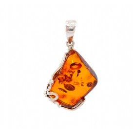 GENUINE HAND MADE BALTIC AMBER & STERLING SILVER PENDANT