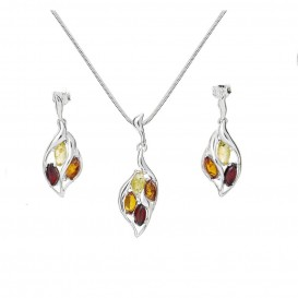 BALTIC AMBER & STERLING SILVER EARRINGS AND NECKLACE -18'' LONG SNAKE CHAIN