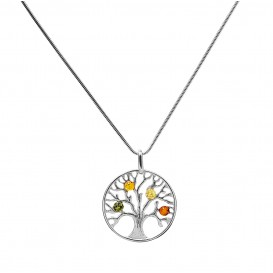 BALTIC AMBER & STERLING SILVER PENDANT (Tree of life) -18'' LONG SNAKE CHAIN
