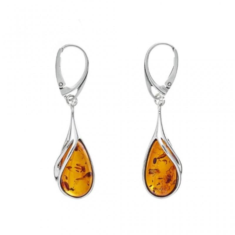 Genuine Baltic Amber Sterling Silver Earrings