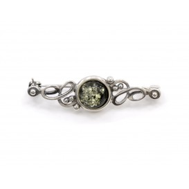GENUINE GREEN BALTIC AMBER & STERLING SILVER BROOCH Be the first to review this item