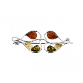 GENUINE BALTIC AMBER & STERLING SILVER BROOCH