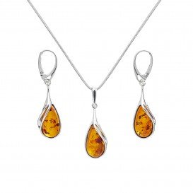 GENUINE BALTIC AMBER & STERLING SILVER EARRINGS AND NECKLACE SET - 18'' LONG SNAKE CHAIN
