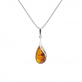 BALTIC AMBER & STERLING SILVER PENDANT- 18'' LONG SNAKE CHAIN