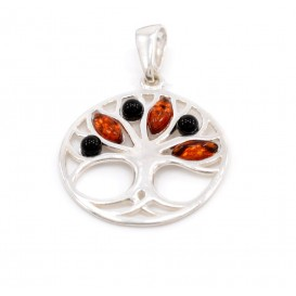 GENUINE BALTIC AMBER & STERLING SILVER TREE OF LIFE PENDANT