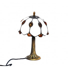 TABLE LAMP - LAMP SHADE HAND MADE OF NATURAL BALTIC AMBER AND WHITE GLASS ON 30 cm HEIGHT BRASS BASE