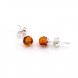 BALTIC AMBER & STERLING SILVER STUD EARRINGS