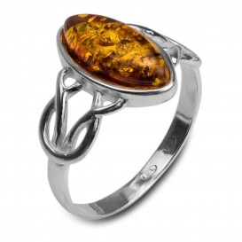 GENUINE GREEN BALTIC AMBER & STERLING SILVER RING