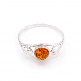 GENUINE BALTIC AMBER & STERLING SILVER RING