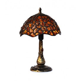TABLE LAMP - LAMP SHADE HAND MADE OF NATURAL BALTIC AMBER ON 30 cm HEIGHT BRASS BASE