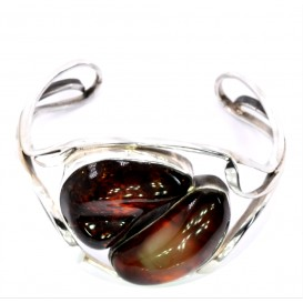 GENUINE HAND MADE BALTIC AMBER & STERLING SILVER BANGLE