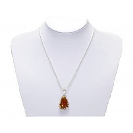 GENUINE BALTIC AMBER & STRLING SILVER UNIQUE HAND MADE PENDANT